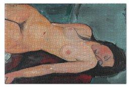 """Пазл 73.5 x 48.8 (1000 элементов) """"Сидящая обнажённая (картина Модильяни, 1916)"""" - картина, живопись, ню, экспрессионизм, модильяни"""
