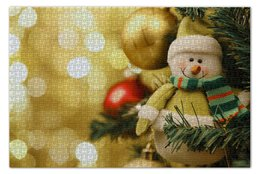 "Пазл 73.5 x 48.8 (1000 элементов) ""Снеговик"" - игрушки, new year, елка"
