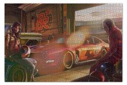"Пазл 73.5 x 48.8 (1000 элементов) ""Гараж"" - girl, car, гонка, гараж, garage"