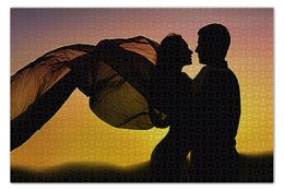 "Пазл 73.5 x 48.8 (1000 элементов) ""ЛЮБОВЬ LOVE"" - силуэт, стиль, красота, пара, закат"