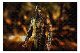 """Пазл 73.5 x 48.8 (1000 элементов) """"Mortal Kombat (Scorpion)"""" - персонаж, воин, боец, mortal kombat, scorpion"""