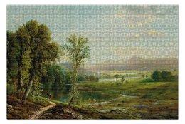 """Пазл 73.5 x 48.8 (1000 элементов) """"Фигуры, прогуливающиеся вдоль реки"""" - англия, лес, пейзаж, живопись, озеро"""