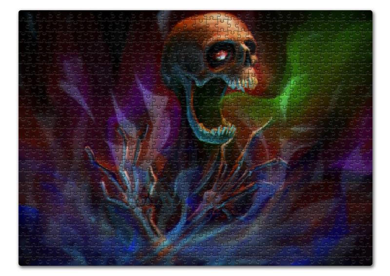 Пазл 43.5 x 31.4 (408 элементов) Printio Skull in colorful smoke золотое кольцо ювелирное изделие 01k625529