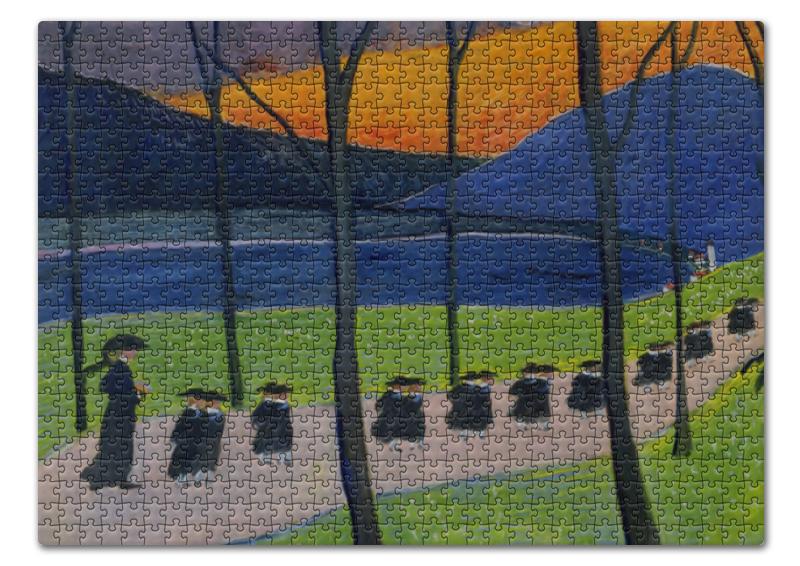 Пазл 43.5 x 31.4 (408 элементов) Printio Осень. школа (марианна верёвкина)