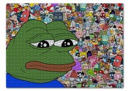 "Пазл 43.5 x 31.4 (408 элементов) ""Pepe Frog"" - мем, meme, грустная лягушка, sad frog, pepe frog"