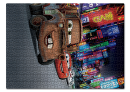 """Пазл 43.5 x 31.4 (408 элементов) """"Тачки"""" - мультфильм, дисней, машина, тачки, молния"""