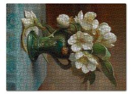 "Пазл 43.5 x 31.4 (408 элементов) ""Пионы в вазе (картина Ханса Зацка)"" - цветы, картина, живопись, натюрморт, зацка"