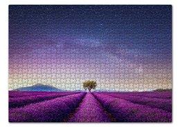 "Пазл 43.5 x 31.4 (408 элементов) ""Без названия"" - космос, небо, природа, звёзды, лаванда"
