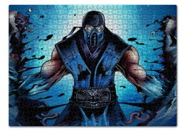 "Пазл 43.5 x 31.4 (408 элементов) ""Mortal Kombat X (Sub-Zero)"" - воин, боец, mortal kombat, sub-zero"