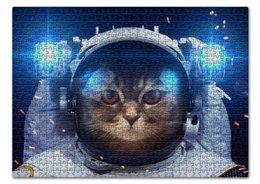 """Пазл 43.5 x 31.4 (408 элементов) """"Котосмонавт"""" - кот, космос, животное, костюм"""