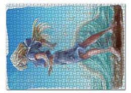 """Пазл 43.5 x 31.4 (408 элементов) """"Слушая море"""" - море, аниме, океан, projectpanda, вакин"""