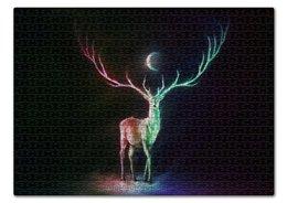 """Пазл 43.5 x 31.4 (408 элементов) """"Moonshine deer"""" - олень, месяц, вселенная, сияние"""