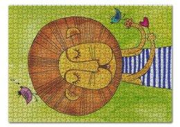 """Пазл 43.5 x 31.4 (408 элементов) """"Лев Бонифаций в тельняжке"""" - лев, дети, акварель, грива, бонифаций"""