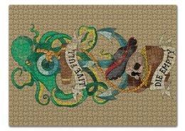 """Пазл 43.5 x 31.4 (408 элементов) """"Осьминог"""" - old school, пират, якорь, татуировка, череп"""
