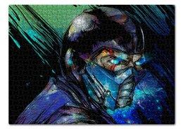 "Пазл 43.5 x 31.4 (408 элементов) ""Mortal Kombat X (Sub-Zero)"" - космос, боец, mortal kombat, sub-zero, вион"