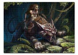 """Пазл 43.5 x 31.4 (408 элементов) """"ВОИТЕЛИ АРТЫ. ДЕВУШКИ"""" - стиль, лес, амазонка, арт фэнтези, саблезубый кот"""