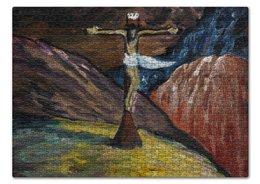 """Пазл 43.5 x 31.4 (408 элементов) """"Голгофа (Марианна Верёвкина)"""" - картина, марианна верёвкина, живопись, иисус"""