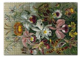 """Пазл 43.5 x 31.4 (408 элементов) """"Орхидеи (Orchideae, Ernst Haeckel)"""" - картина, орхидея, день матери, красота форм в природе, эрнст геккель"""