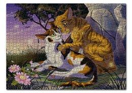 """Пазл 43.5 x 31.4 (408 элементов) """"КОТЫ - ВОИТЕЛИ. КНИГИ"""" - кошки, бурый, стиль эксклюзив креатив красота яркость, арт фэнтези, медуница"""