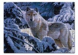 """Пазл 43.5 x 31.4 (408 элементов) """"БЕЛЫЙ ВОЛК"""" - стиль, снег, лес, красота, волк"""