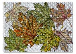 """Пазл 43.5 x 31.4 (408 элементов) """"кленовые листья мехенди"""" - листья, этнический, мехенди"""