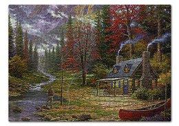 """Пазл 43.5 x 31.4 (408 элементов) """"РЫБАЛКА"""" - стиль, дом, лес, лодка, речка"""