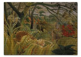 "Пазл 43.5 x 31.4 (408 элементов) ""Нападение в джунглях (картина Анри Руссо)"" - картина, природа, тигр, живопись, руссо"