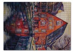 "Пазл 43.5 x 31.4 (408 элементов) ""Европейский пецзаж"" - город, синий, река, дома"