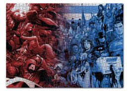 "Пазл 43.5 x 31.4 (408 элементов) ""DC vs Marvel"" - комиксы, batman, superman, марвел, dc comics"
