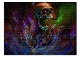 """Пазл 43.5 x 31.4 (408 элементов) """"Skull in colorful smoke"""" - skull, череп, скелет, дым"""