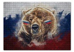"""Пазл 43.5 x 31.4 (408 элементов) """"Русский Медведь"""" - футбол, медведь, россия, флаг, триколор"""