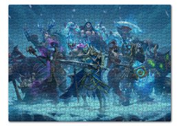 """Пазл 43.5 x 31.4 (408 элементов) """"Knights Of The Frozen Throne"""" - knights frozen throne, рыцари, лед, трон, монстры"""