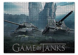 "Пазл 43.5 x 31.4 (408 элементов) ""ТАНКИ/WORLD OF TANKS."" - надпись, стиль, танки, видеоигра, арт фэнтези"