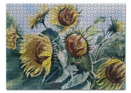 """Пазл 43.5 x 31.4 (408 элементов) """"Подсолнухи."""" - лето, цветы, картина, акварель, подсолнухи"""