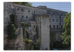 """Пазл 43.5 x 31.4 (408 элементов) """"Стена вокруг города Авиньон"""" - франция, история, стена, крепость, прованс"""