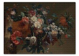 "Пазл 43.5 x 31.4 (408 элементов) ""Ваза с цветами (Ян ван Хёйсум)"" - цветы, картина, живопись, натюрморт, ян ван хёйсум"