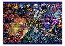 """Пазл 43.5 x 31.4 (408 элементов) """"LEAGUE LEGENDS"""" - надпись, стиль, яркость, персонажи"""