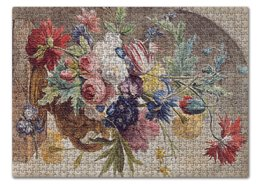 "Пазл 43.5 x 31.4 (408 элементов) ""Цветочный натюрморт (Ян ван Хёйсум)"" - цветы, картина, живопись, натюрморт, ян ван хёйсум"