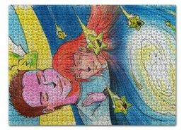 """Пазл 43.5 x 31.4 (408 элементов) """"Объятия Звёздочки"""" - любовь, рисунок, звёзды, а звёзды падали, leshiystudio"""