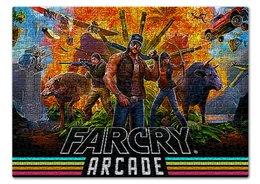 """Пазл 43.5 x 31.4 (408 элементов) """"FARGRY. ВИДЕОИГРЫ"""" - животные, оружие, персонажи, стиль надпись логотип яркость"""