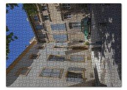 """Пазл 43.5 x 31.4 (408 элементов) """"Улица города Авиньон"""" - город, машина, франция, двор, окна"""