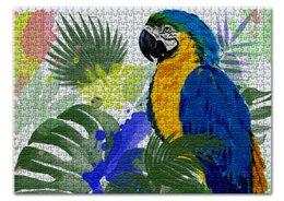 """Пазл 43.5 x 31.4 (408 элементов) """"Попугай в тропиках"""" - животные, попугай, растения, тропические листья, попугай ара"""