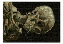 """Пазл 43.5 x 31.4 (408 элементов) """"Череп с горящей сигаретой (Винсент Ван Гог)"""" - череп, картина, ван гог, живопись"""