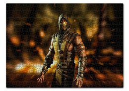 "Пазл 43.5 x 31.4 (408 элементов) ""Mortal Kombat (Scorpion)"" - mortal kombat, scorpion, воин, боец, персонаж"