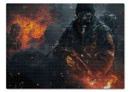"""Пазл 43.5 x 31.4 (408 элементов) """"Warfare"""" - война, огонь, человек, военный, огнемет"""