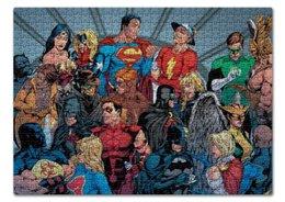 """Пазл 43.5 x 31.4 (408 элементов) """"Лига Справедливости"""" - комиксы, бэтмен, супермэн, зеленый фонарь, чудо-женщина"""