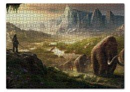 """Пазл 43.5 x 31.4 (408 элементов) """"Far Cry Primal"""" - горы, фар край, каменный век, мамонты"""