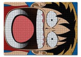 "Пазл 43.5 x 31.4 (408 элементов) ""Луффи - Чё??!!"" - аниме, шляпа, one piece, луффи, монки ди луффи"