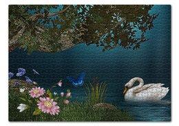 """Пазл 43.5 x 31.4 (408 элементов) """"ЛЕБЕДИНОЕ ОЗЕРО"""" - цветы, красота, вода, вечер, лебедь"""