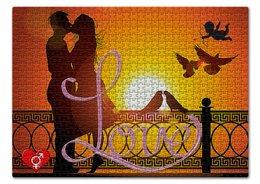 "Пазл 43.5 x 31.4 (408 элементов) ""ЛЮБОВЬ LOVE. СВИДАНИЕ"" - пара, закат, руны, купидон, голуби"